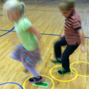 Students practice hopping course